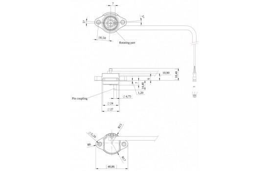 Sensore di Posizione Angolare ad effetto Hall con uscita analogica/digitale programmabile e magnete incorporato.