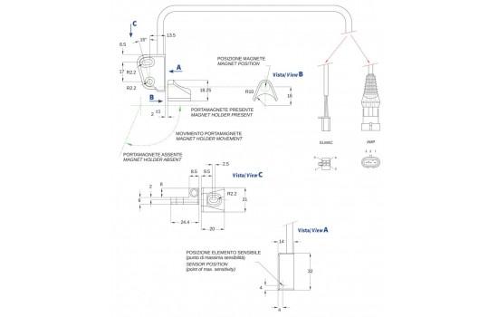 Sensore di Posizione ad effetto Hall con corpo in plastica e doppia uscita