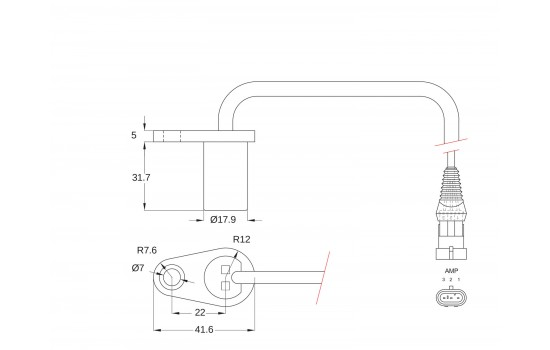 Sensore di Posizione ad effetto Hall con corpo in plastica flangiato