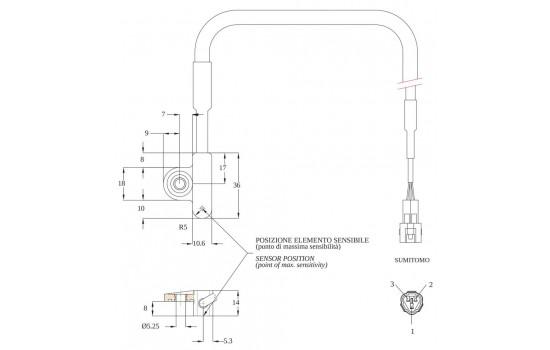 Sensore di Velocità ad effetto Hall con corpo in plastica e fissaggio rinforzato