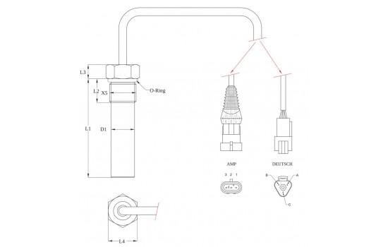 Sensore di Velocità ad effetto Hall con corpo metallico filettato per ingranaggi