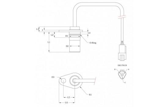 Sensore di Velocità ad effetto Hall con corpo metallico flangiato per ingranaggi
