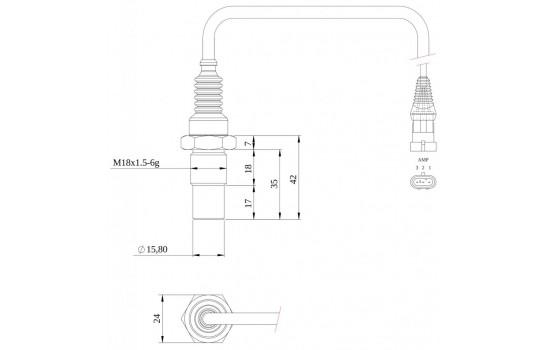 Sensore di Velocità ad effetto Hall per ingranaggi con corpo metallico filettato e partitore d'uscita