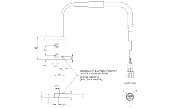 Sensore di Velocità ad effetto Hall con corpo rettangolare in plastica e due punti di fissaggio