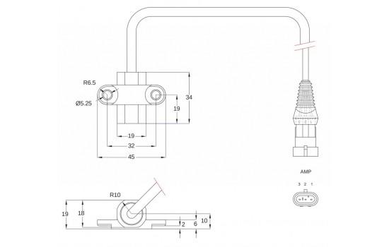Sensore di Velocità ad effetto Hall con corpo cilindrico in plastica e due punti di fissaggio