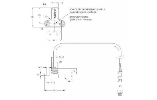 Sensore di Velocità ad effetto Hall con corpo costampato in plastica e due punti di fissaggio